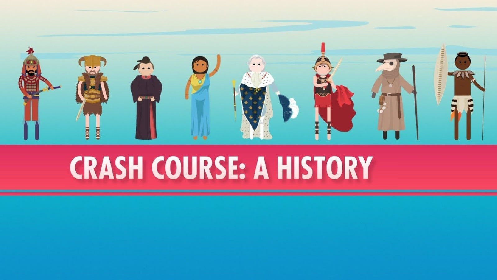A promotional image for Crash Course featuring historical figures.