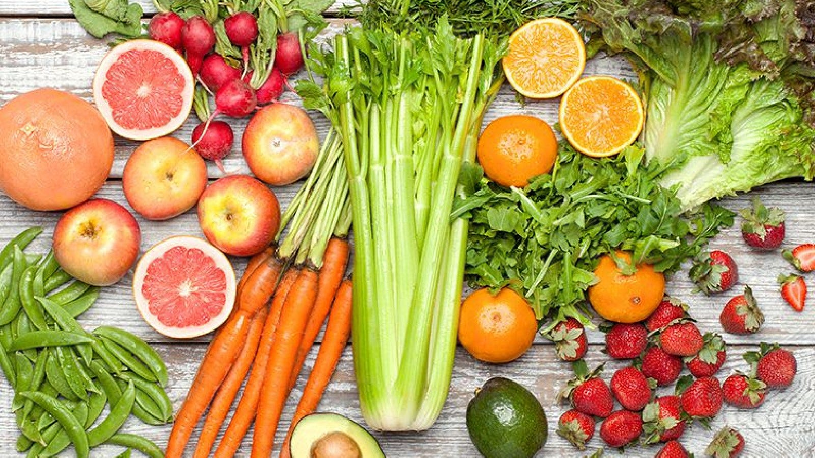 Piles of fruits and veggies from Farm Fresh to You.