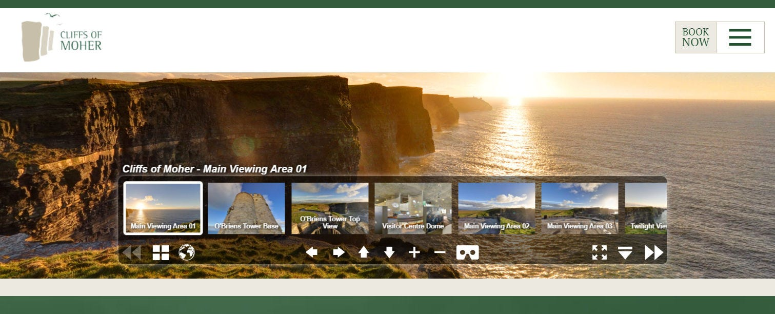 The tour dashboard for the Cliffs of Moher virtual tour.
