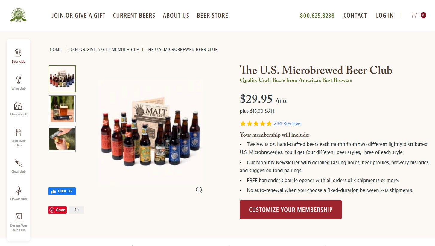 The U.S. Microbrewed Beer Club page on The Microbrewed Beer of the Month Club website.