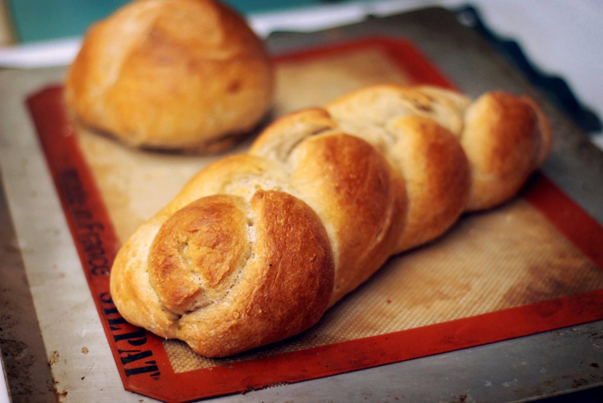 A simple braided challah bread.