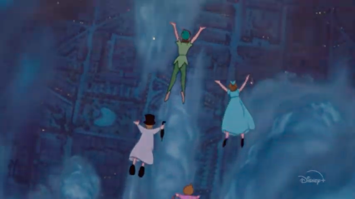 Peter Pan and friends flying in a Disney Zenanimation short.