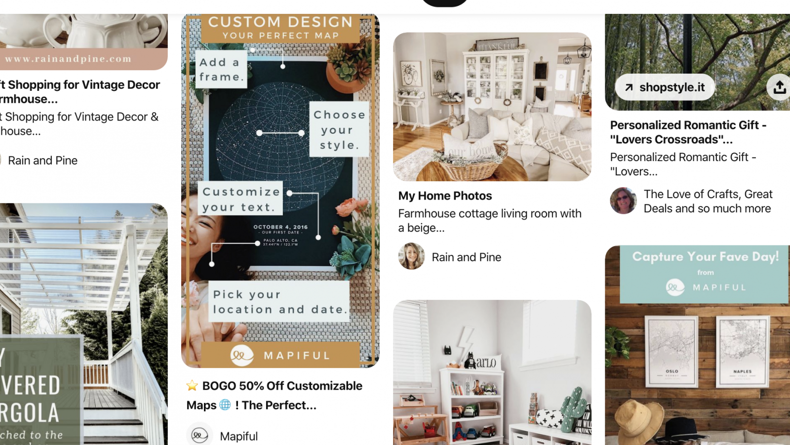 Pinterest mood board for interior design