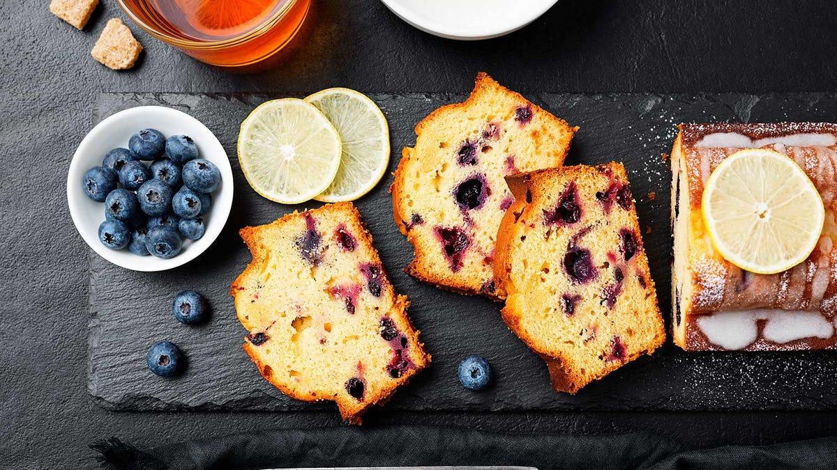 Blueberry-lemon cake on a slate board.