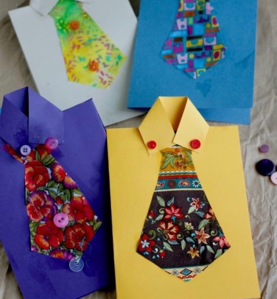 Four Father's Day cards that look like a business shirt with a fabric tie glued on.