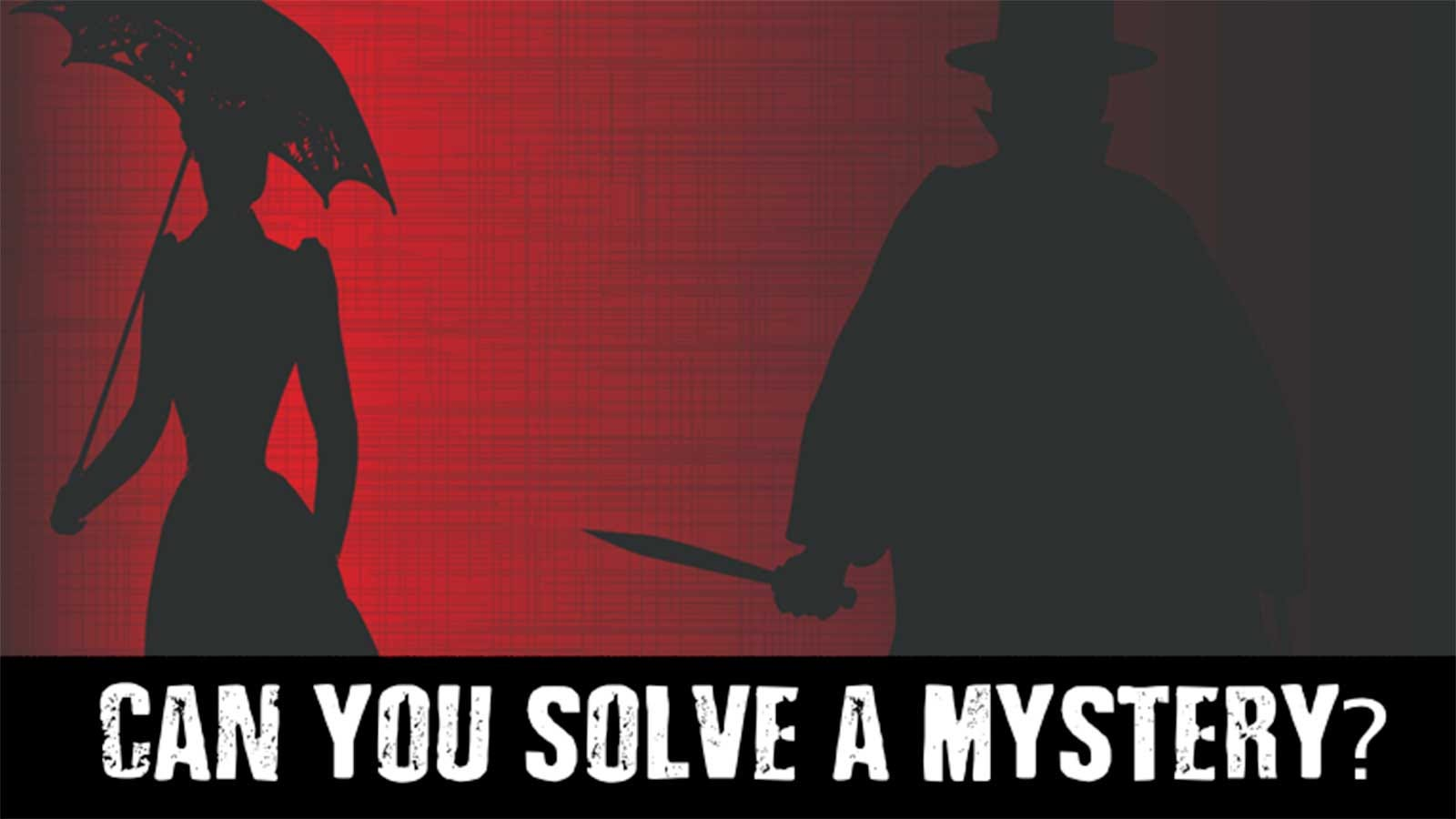 Silhouettes of a man with a knife behind a woman holding an umbrella.