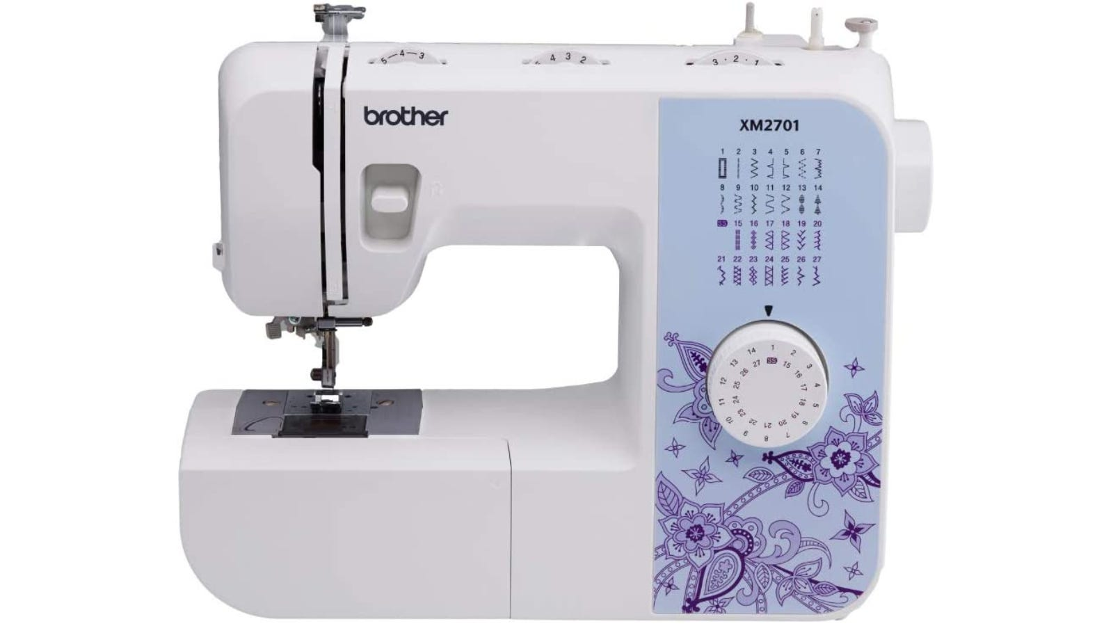off white sewing machine with a blue background and purple designs around the knob