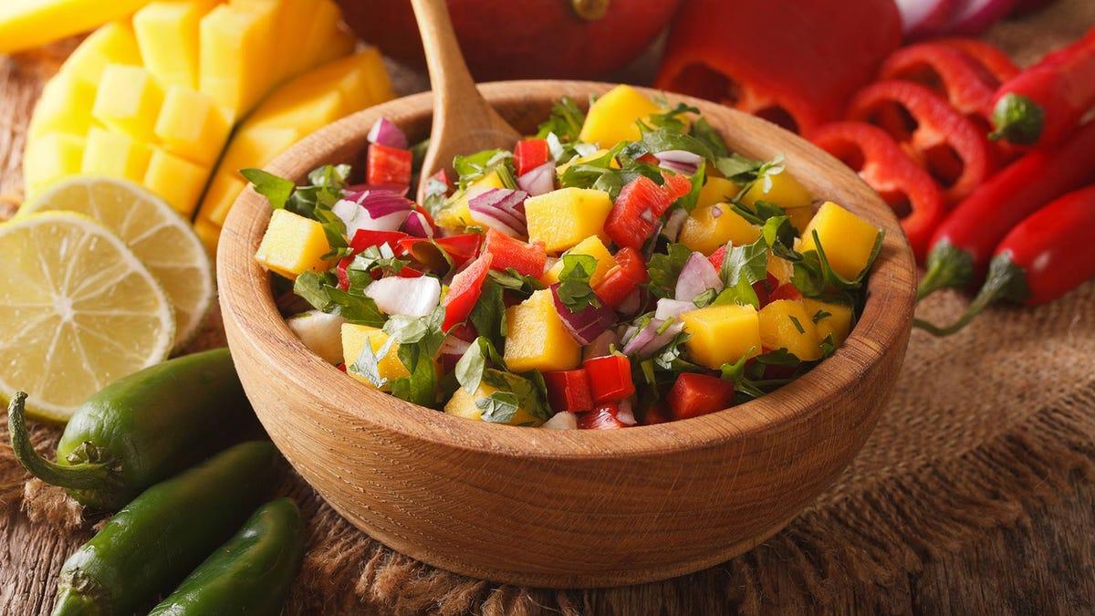 A bowl of fruit salsa.