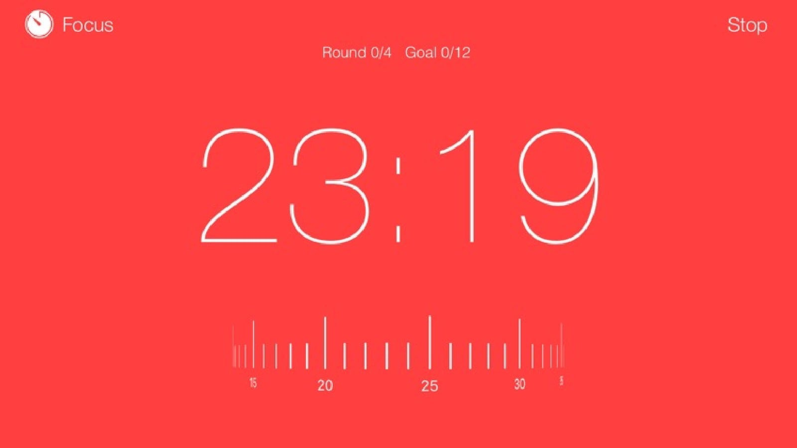 A work-session timer in the Focus Keeper app.