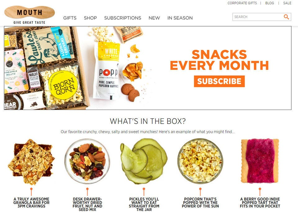 Splash page for Mouth snack club subscription.