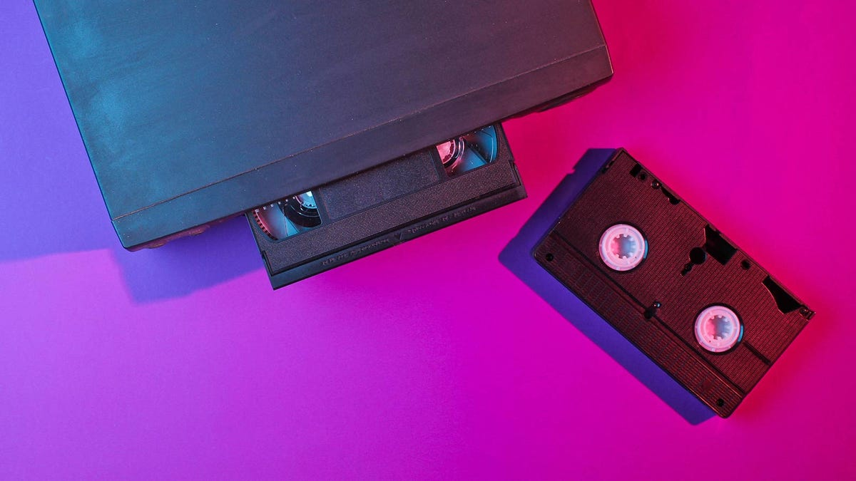 A VCR and some tapes.