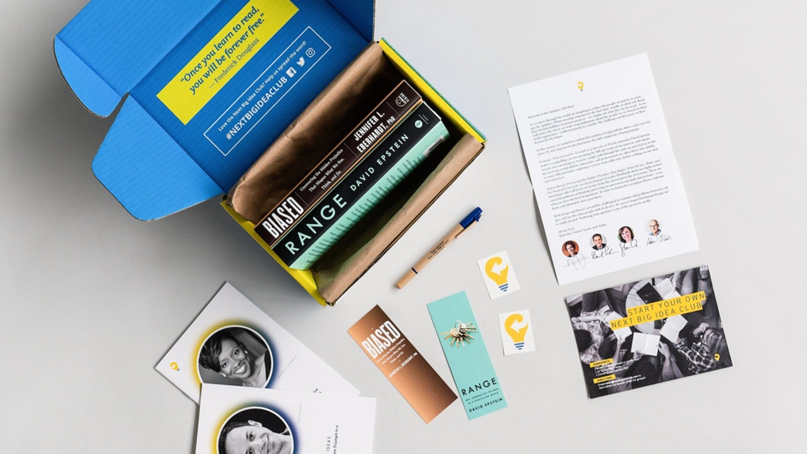 A Next Big Idea Club box featuring two books.
