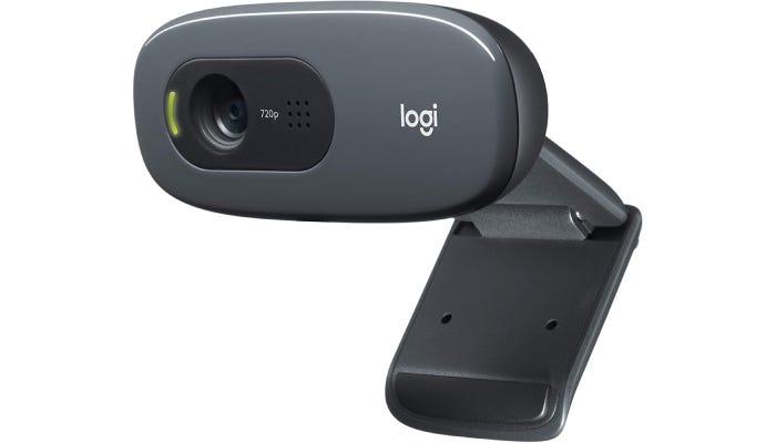 dark gray cylindrical webcam with a clip