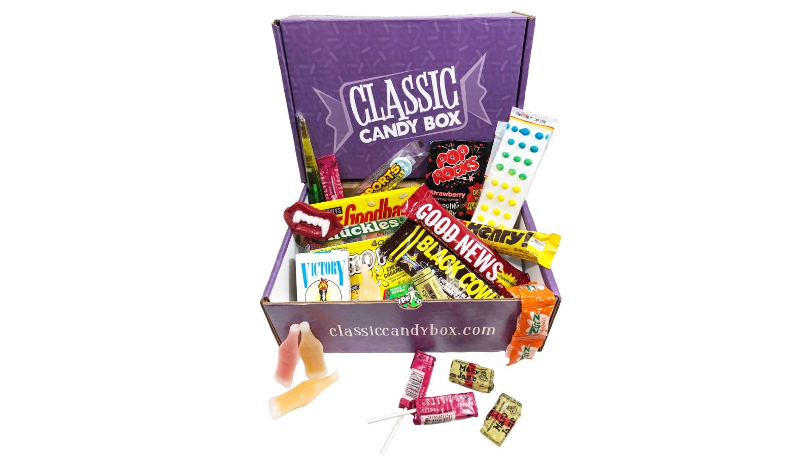 The contents of a Classic Candy Box.