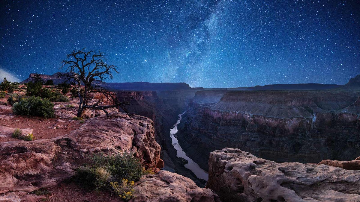 A beautiful starry night over the Grand Canyon.