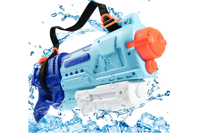 blue and white water gun with orange accents and black carrying strap in a splash of water