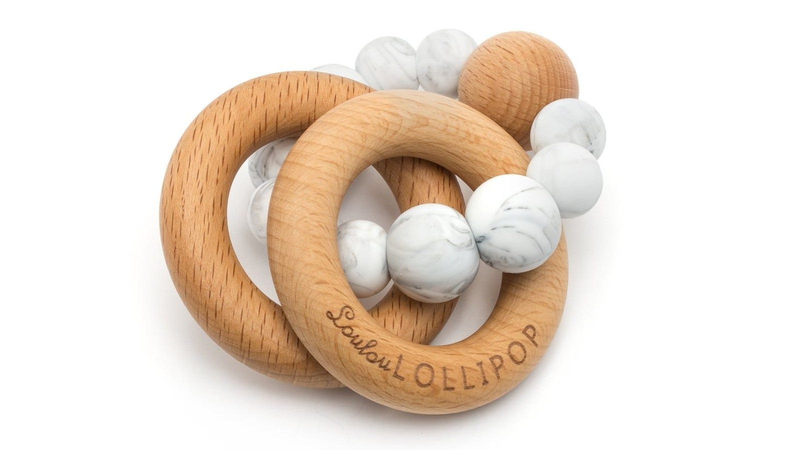 Loulou Lollipop Bubble Silicone and Wooden Teether