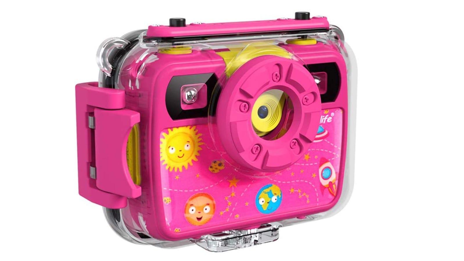 bright pink kids' camera in a plastic case