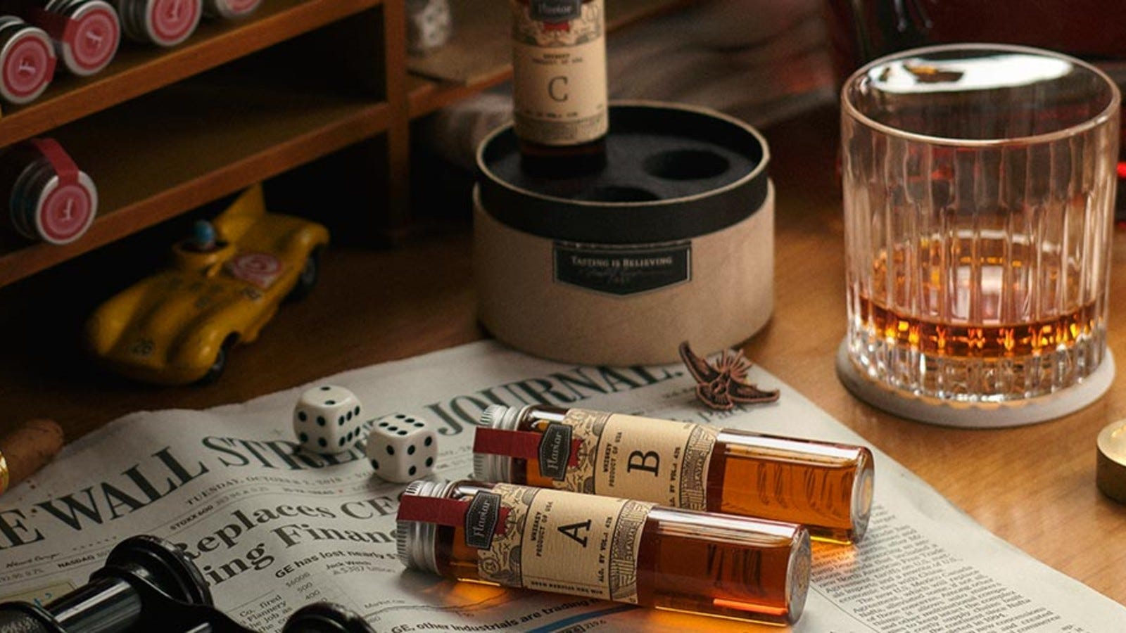 cocktail and spirit samplers in Flaviar box