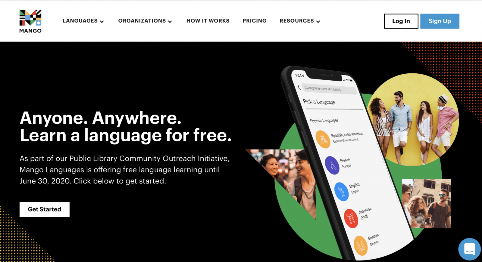 The Mango website.