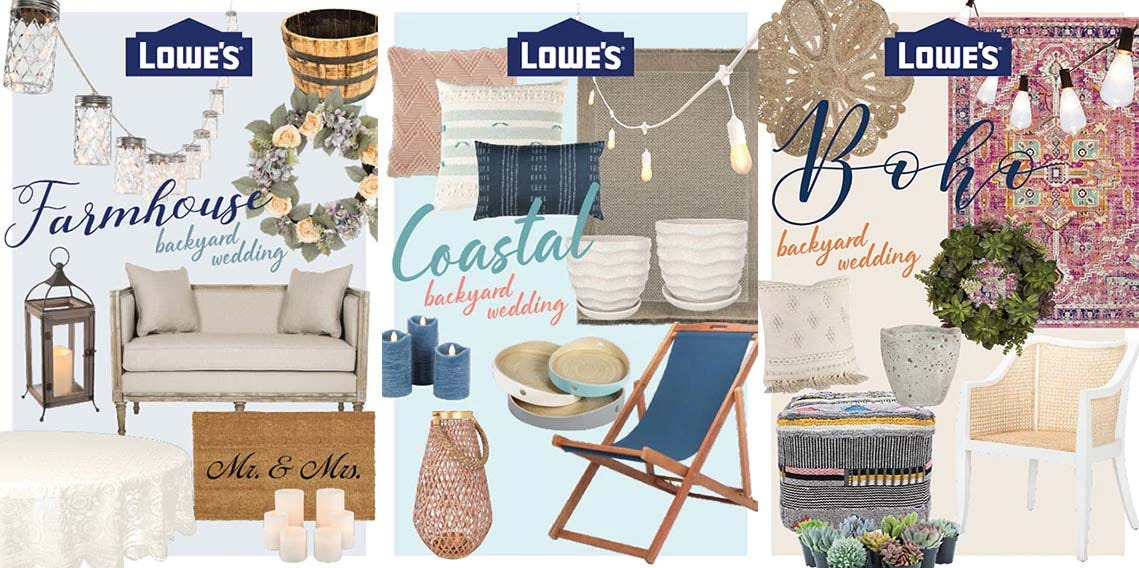 Examples of the Lowe's backyard wedding collections.