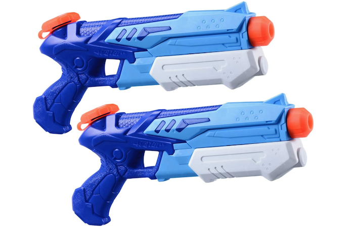 two matching blue and white water guns with orange accents