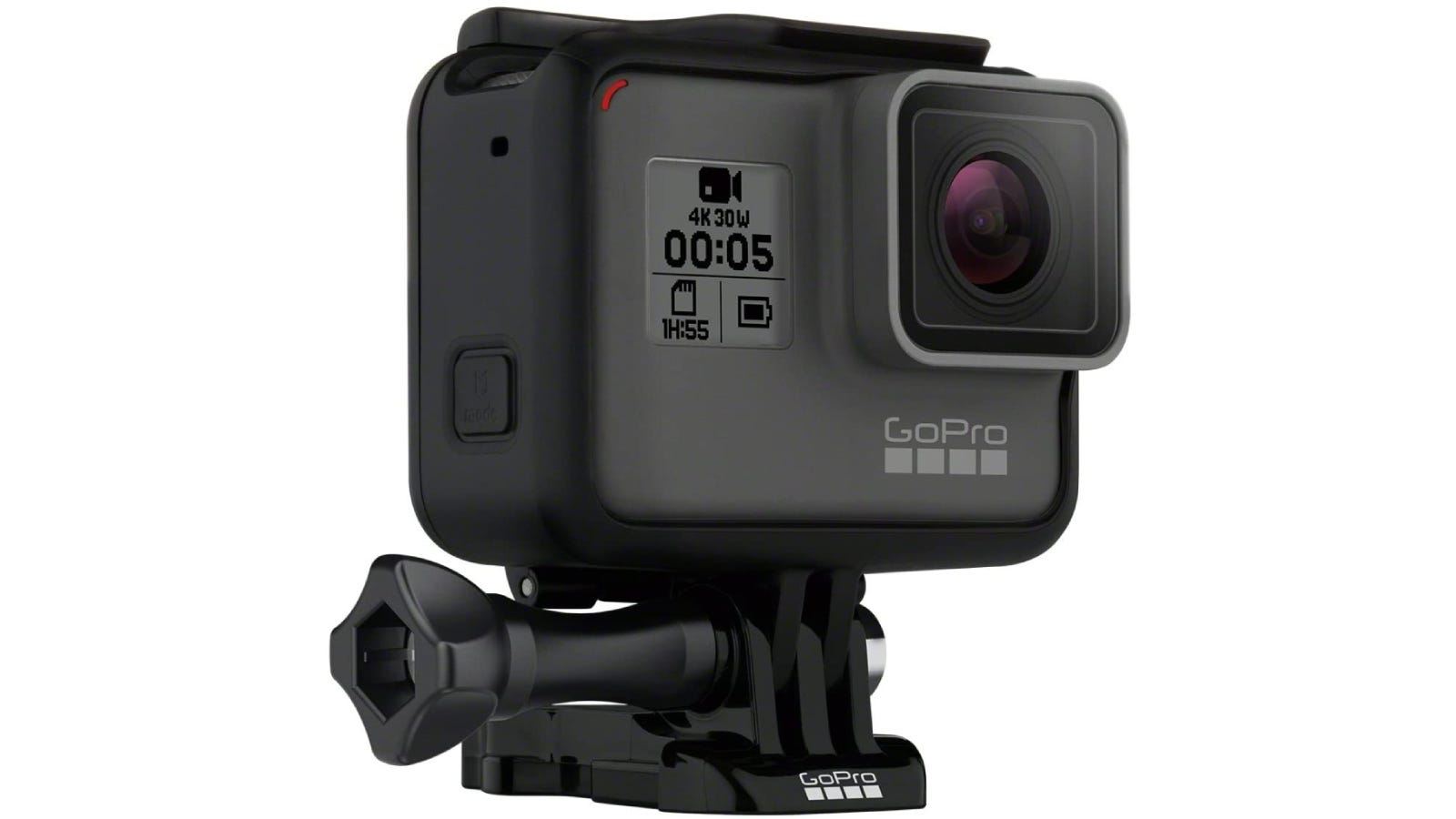 square gray and black camera on a mount