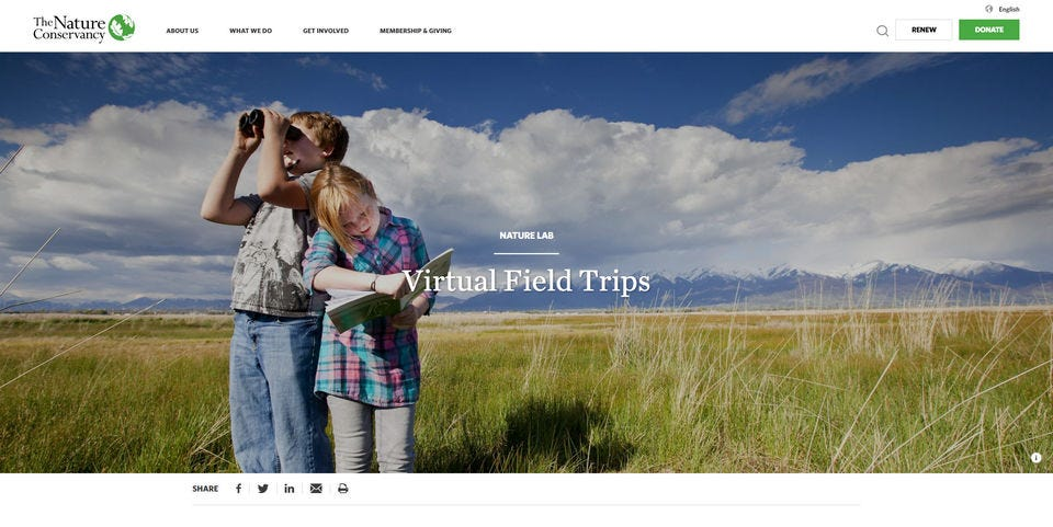The splash page for The Nature Conservancy virtual field trips with two children exploring in a sunny field.