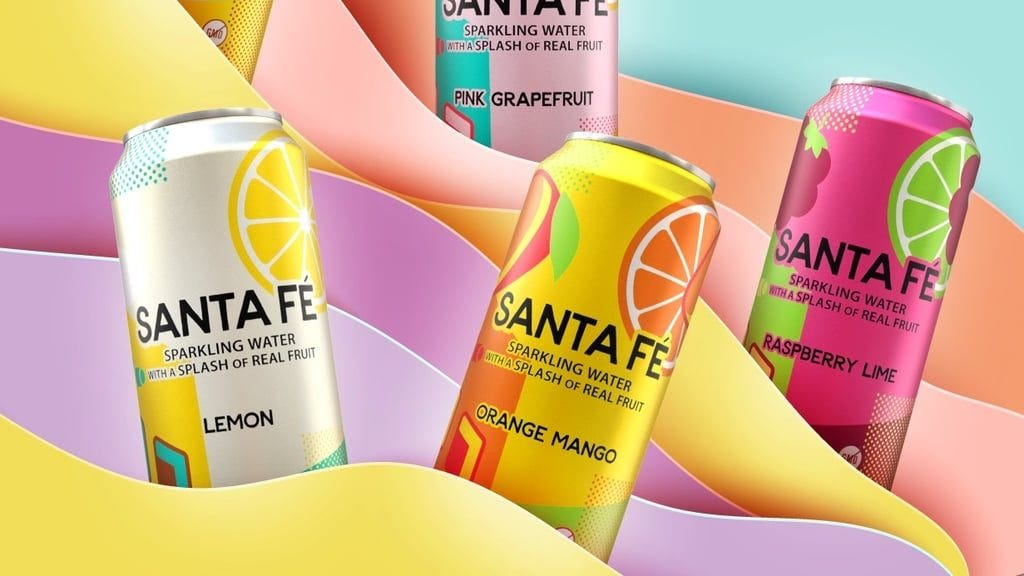 Cans of Arizonas Sante Fe seltzers sit in front of a yellow and purple backdrop.