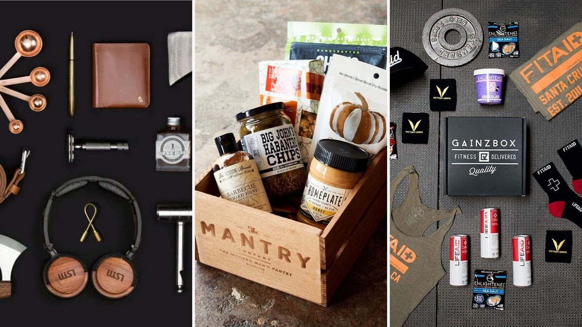A collection of various gift subscription boxes with dad-friendly stuff like razors, food, and workout gear.
