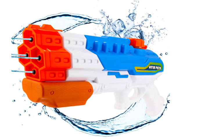 a water gun with four streams of water coming from chambers and water splashing around it