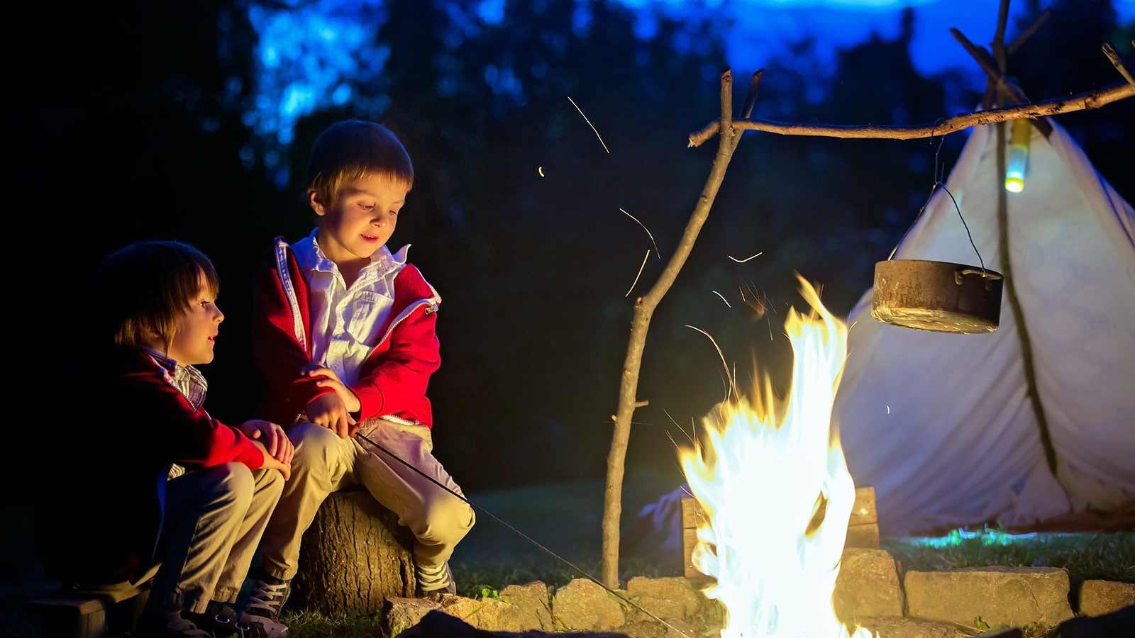 Kids sitting around a backyard campfire.