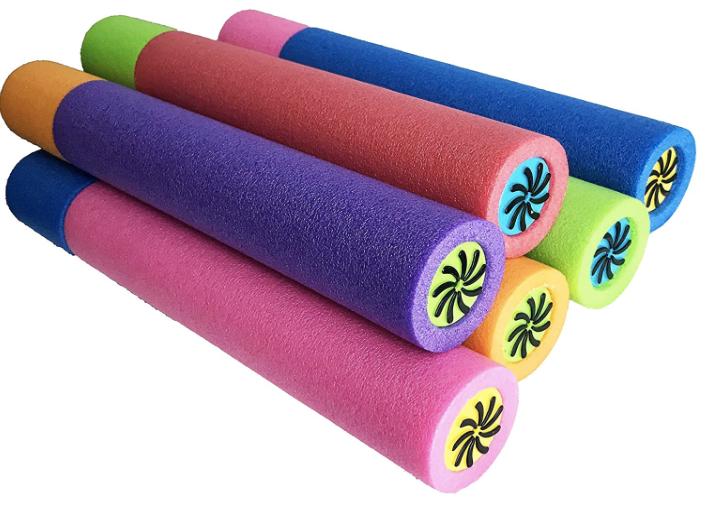 a pile of six pool-noodle foam water blasters