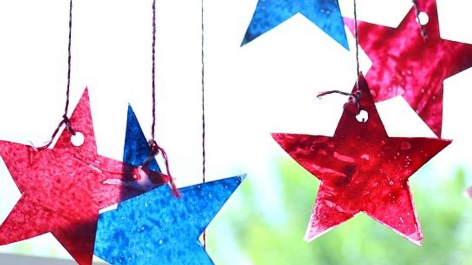 Homemade star-shaped sun catchers.