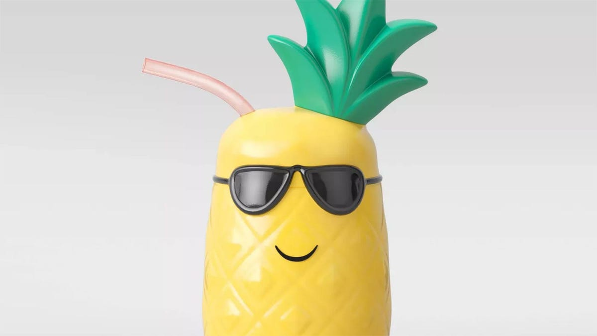 A pineapple wearing sunglasses that's also a cup.
