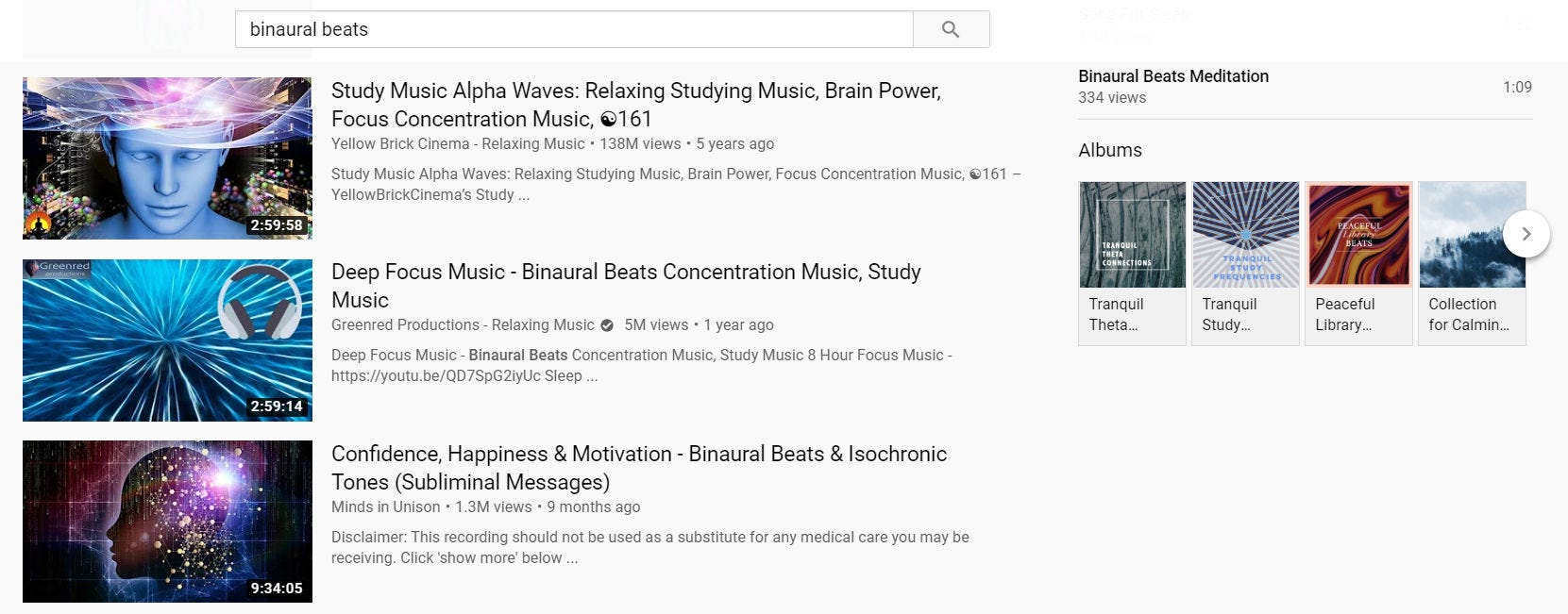 "Search results for ""Binaural Beats"" on YouTube."