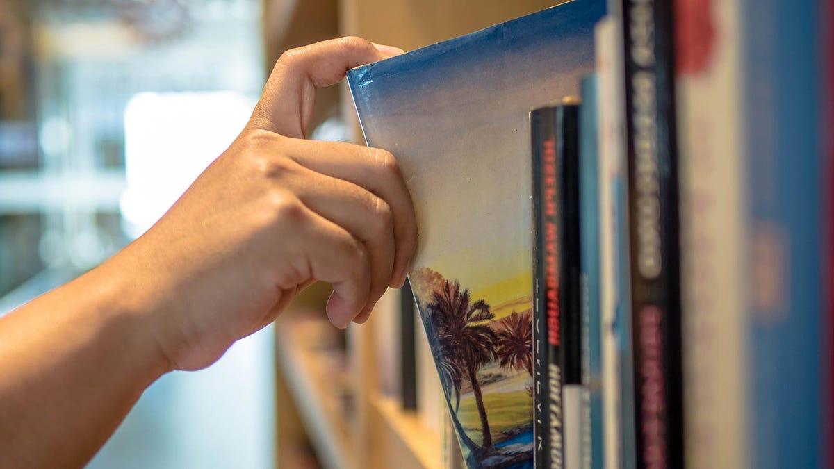Someone pulling a travel book off a shelf.