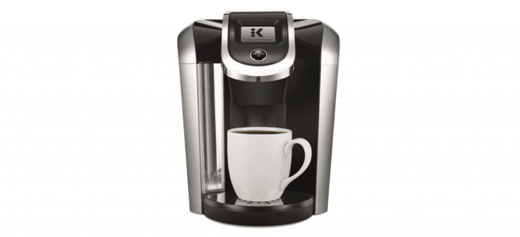 Keurig K475 Coffee Maker with black and silver finishes