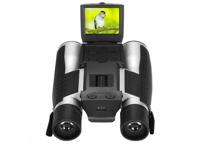 black camera binoculars showing a bird on the digital screen