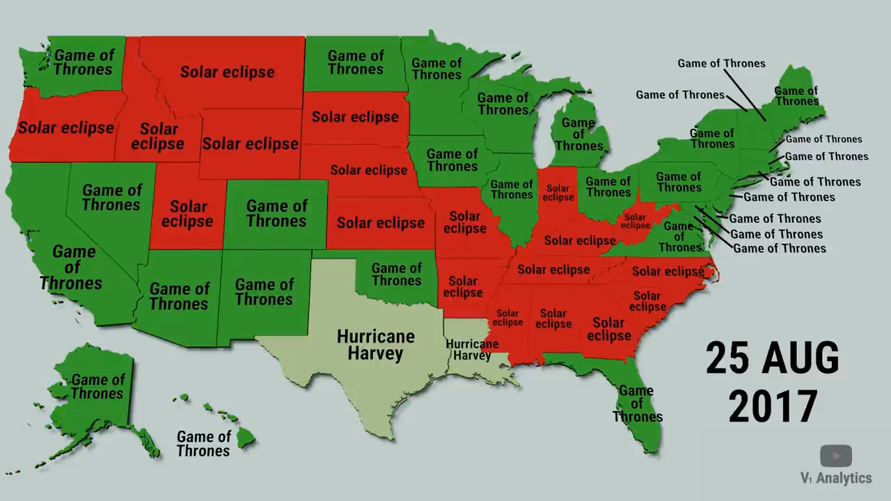 A map of the United States showing which states searched for information about the 2017 Solar Eclipse.