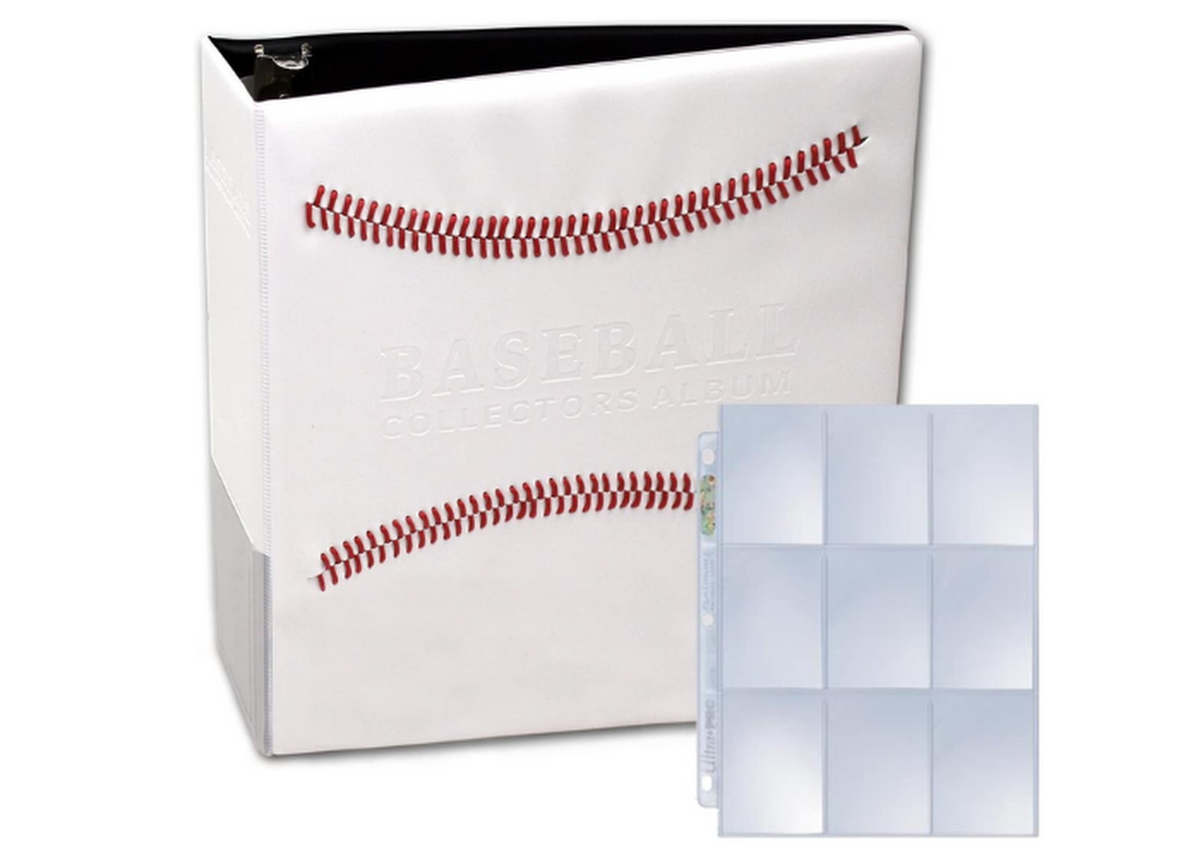 white binder with red baseball laces and plastic baseball card slots