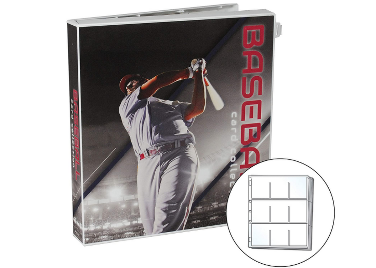 baseball card binder with a baseball player on the cover