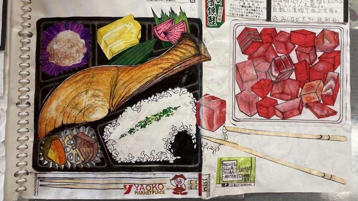 A photograph of several of Itsuo Kobayashi's food drawings.
