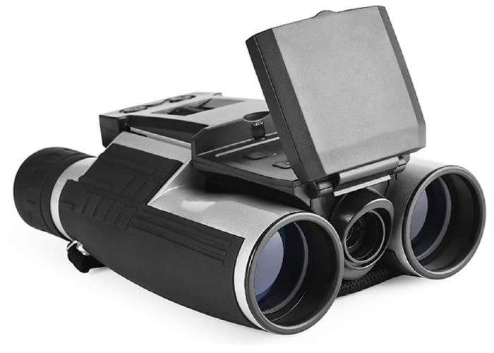 black camera binoculars with a flip up screen