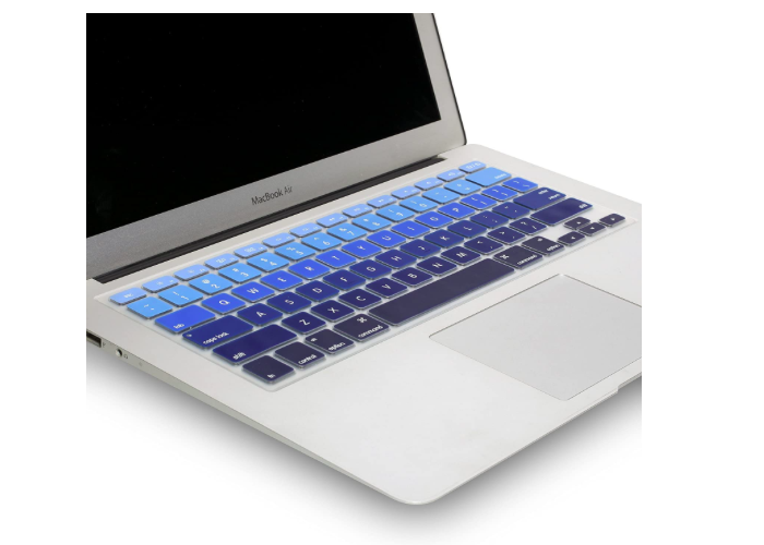 keyboard cover with keys in various shades of blue