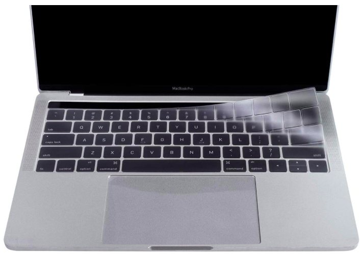 clear keyboard cover on a macbook laptop