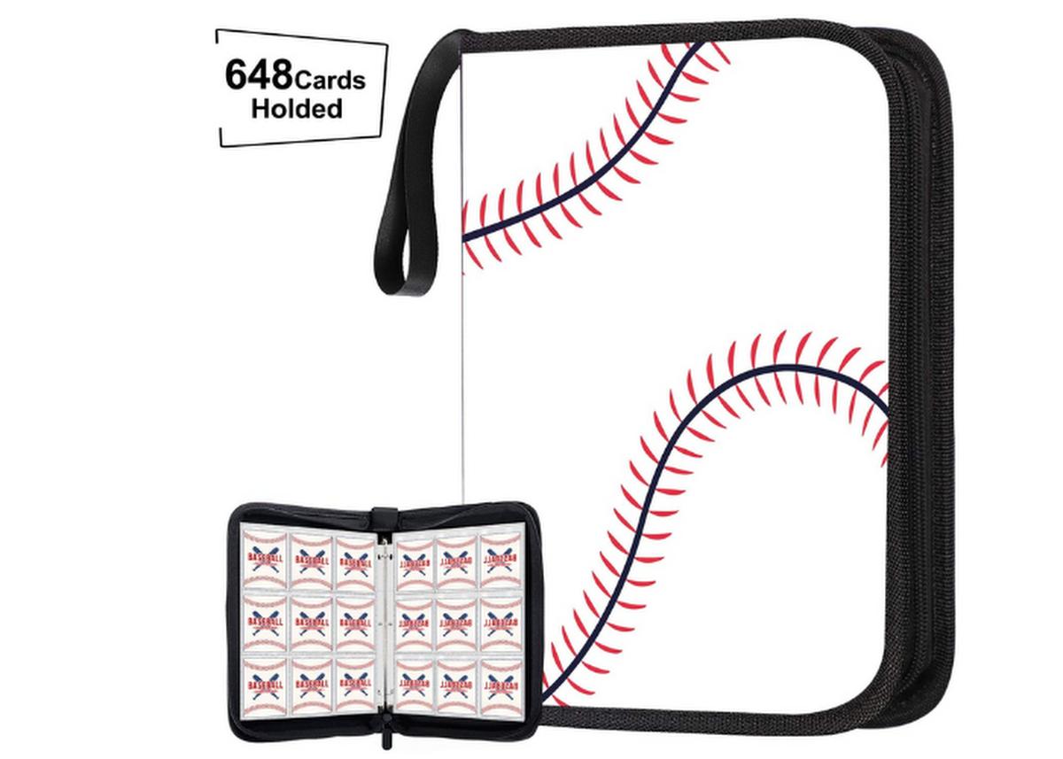 baseball patterned soft zip up binder