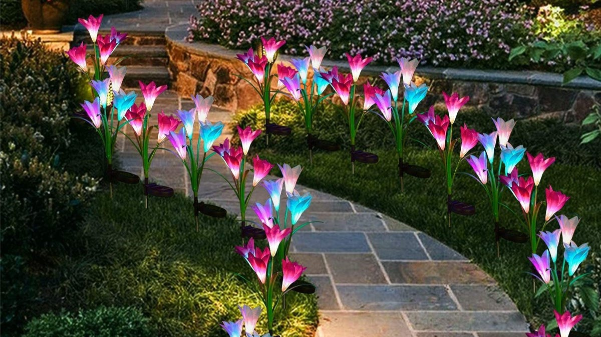 Purple, pink, and blue lily garden lights lining a tiled path.