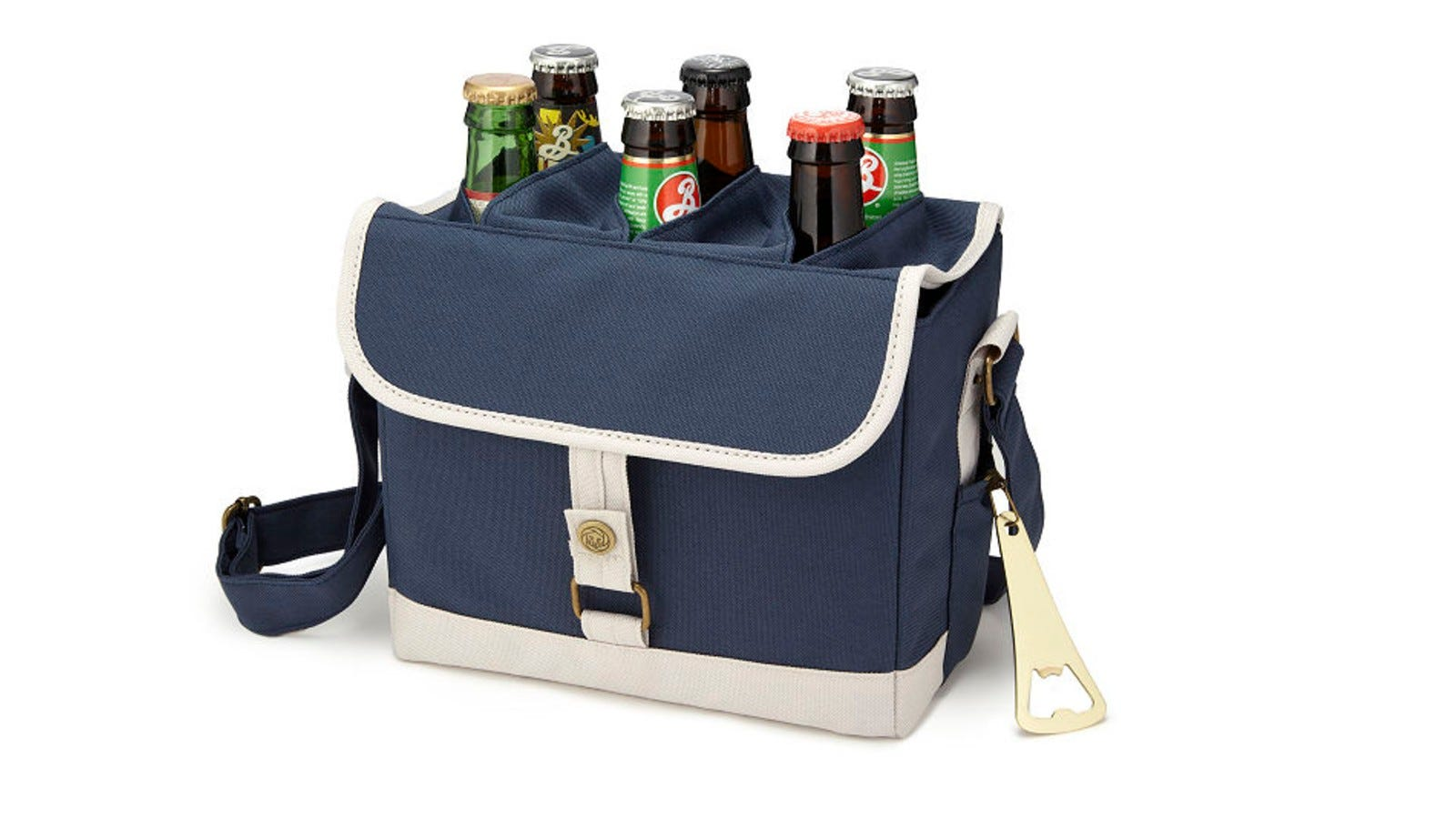 Six bottles of beer sticking out of Uncommon Goods' Brew Caddy.