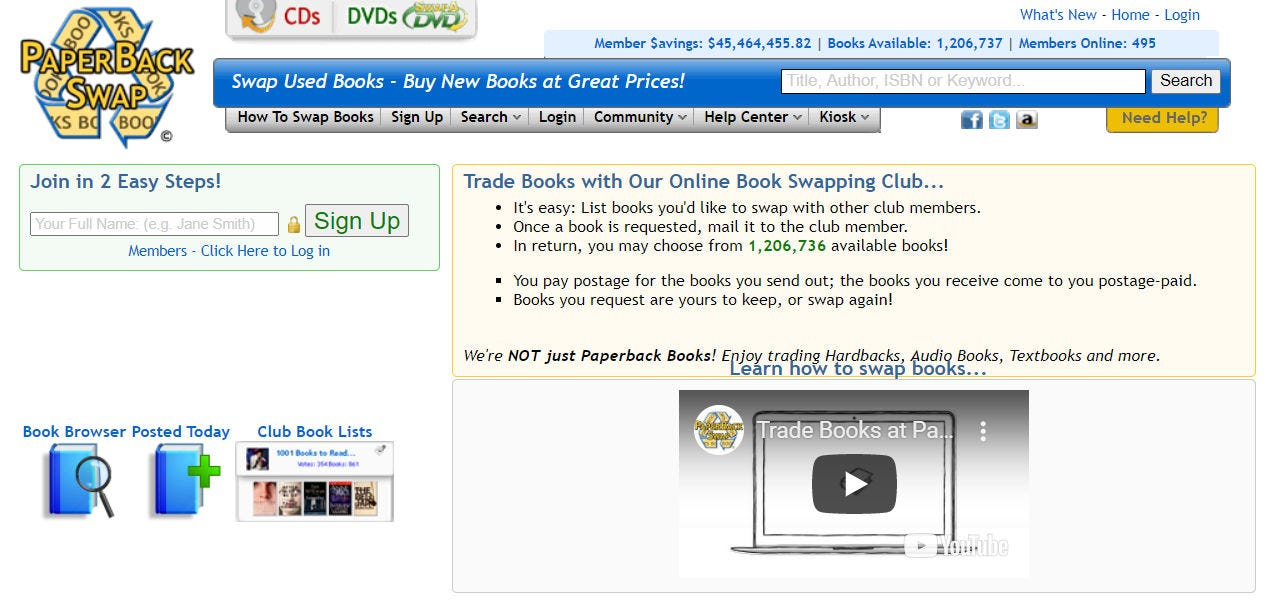 The Paperback Swap website.